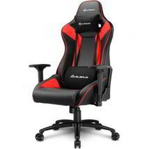 Sharkoon Gamer szék - Elbrus 3 Black/Red (állítható magasság; állítható kartámasz; műbőr; acél talp; 150kg-ig)