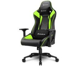 Sharkoon Gamer szék - Elbrus 3 Black/Green (állítható magasság; állítható kartámasz; műbőr; acél talp; 150kg-ig)