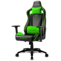 Sharkoon Gamer szék - Elbrus 2 Black/Green (állítható magasság; állítható kartámasz; műbőr; acél talp; 150kg-ig)