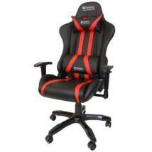 Sandberg Gamer szék - Commander Gaming Chair (állítható dőlés/magasság; párnázott kartámasz; PU+szövet; max.150kg-ig)
