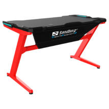 Sandberg Gamer Asztal - Fighter Gaming Desk (Fa lap, fém lábak; fekete-vörös; 120x66x73 cm)