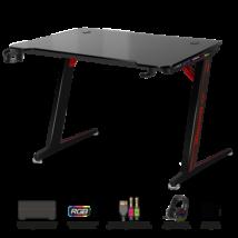 Spirit of Gamer Gamer Asztal - Headquarter 300 (MDF lap, fém lábak, fekete, RGB LED háttérvilágítás, 120 x 66 x 71.5 cm)