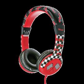 Trust Fejhallgató - Spila Kids Car (gyerekeknek, piros; mikrofon; hangerőszabályzó; 3.5mm jack; nagy-párnás; EN71 szab.)