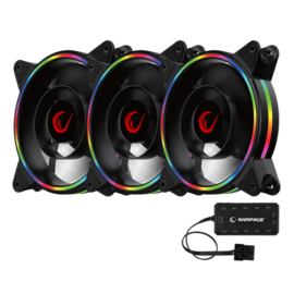 Rampage Cooler 3x12cm - RB-K12 RGB (ház hűtésre, 3x 120mm ARGB LED)