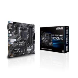 Asus Alaplap - AMD PRIME B550M-K AM4 (B550, 4xDDR4 4800MHz, 4xSATA3, 2x M.2, Raid, 4xUSB2.0, 8xUSB3.2)