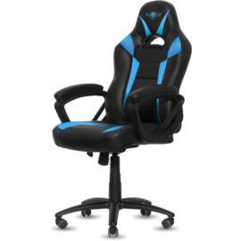Spirit of Gamer szék - FIGHTER Blue (állítható magasság; párnázott kartámasz; PU; max.120kg-ig, fekete-kék)
