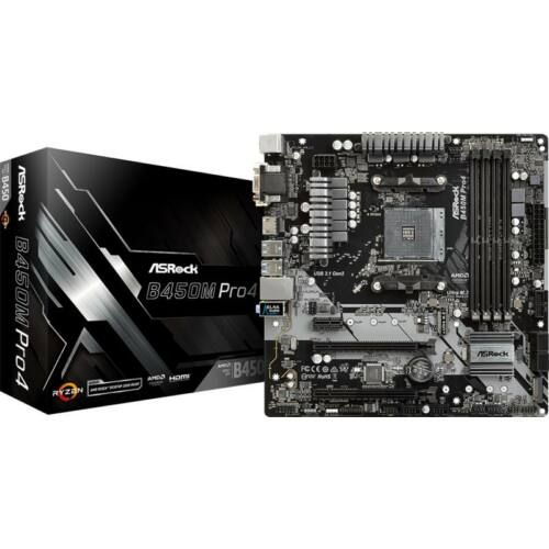 Asrock B450M PRO4 desktop alaplap microATX