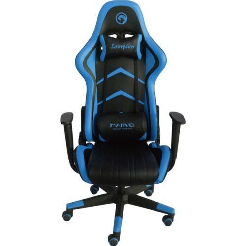 Marvo Gamer szék - CH-106 BL (állítható dőlés/magasság; fix kartámasz; PU; max.150kg-ig, fekete-kék)