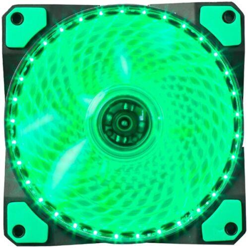 Marvo Cooler 12cm - FN-11 GN (18dB; max. 97,18 m3/h; 3pin csatlakozó; ház hűtésre, zöld LED)