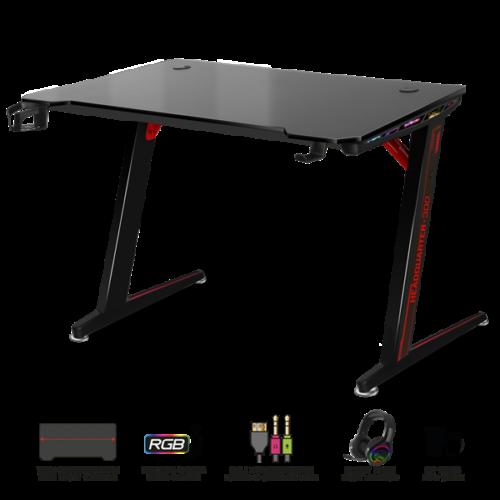 Spirit of Gamer Gamer Asztal - Headquarter 300 (MDF lap, fém lábak, fekete, RGB LED háttérvilágítás, 120 x 60 x 75 cm)