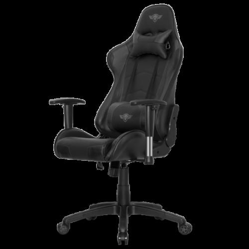 Spirit of Gamer szék - DEMON Black (állítható dőlés/magasság; állítható kartámasz; PU; max.120kg-ig, fekete)