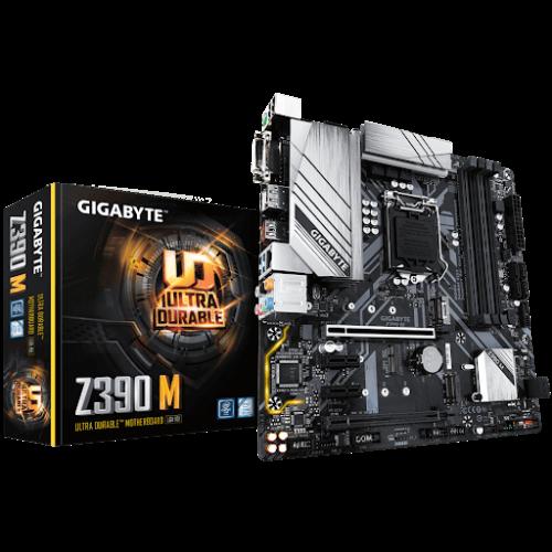 Gigabyte Alaplap - Intel Z390 M S1151 (Z390, 4xDDR4 4266MHz, 2xPCI-E, 1xGBE LAN, 6xSATA3, M.2, RAID, 7xUSB3.1)