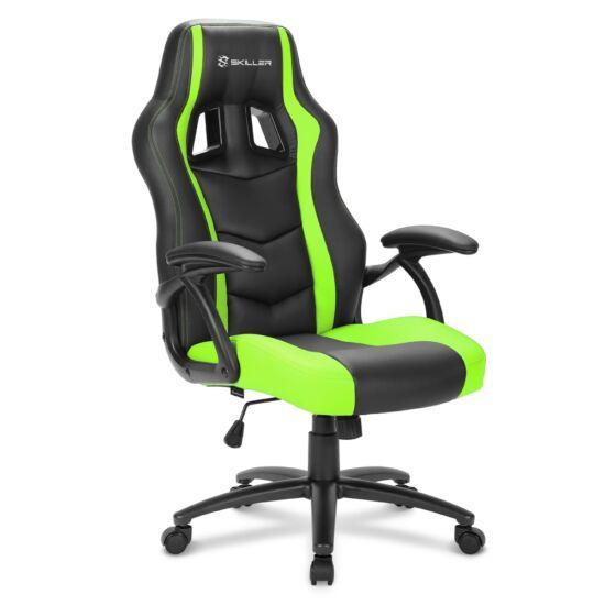 Sharkoon Gamer szék - Skiller SGS1 Black/Green (állítható magasság; fix kartámasz; PU/PVC; acél talp; 100kg-ig)
