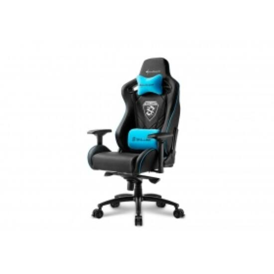Sharkoon Gamer szék - Skiller SGS4 Black/Blue (állítható háttámla/magasság; 4D kartámasz; PVC; aluminium talp; 150kg-ig)