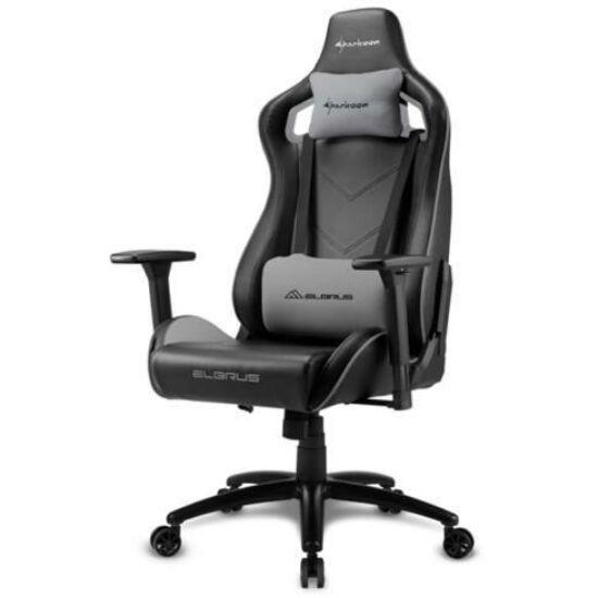 Sharkoon Gamer szék - Elbrus 2 Black/Grey (állítható magasság; állítható kartámasz; műbőr; acél talp; 150kg-ig)