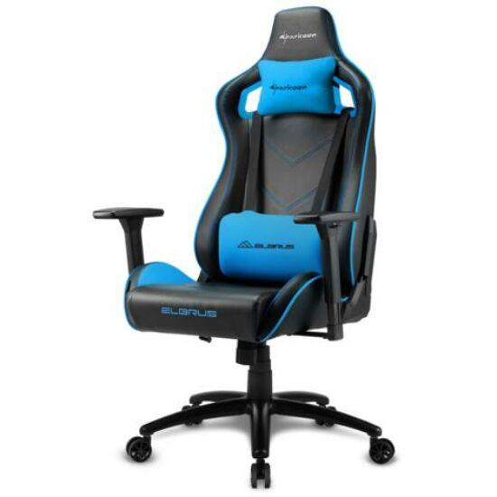 Sharkoon Gamer szék - Elbrus 2 Black/Blue (állítható magasság; állítható kartámasz; műbőr; acél talp; 150kg-ig)