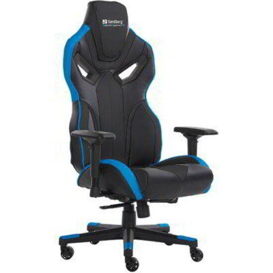 Sandberg Gamer szék - Voodoo Gaming Chair (állítható dőlés/magasság; 4D  kartámasz; PU+szövet; max.150kg-ig; fekete-kék)