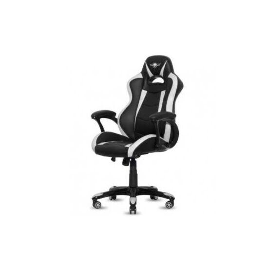 Spirit of Gamer szék - RACING White (állítható magasság; párnázott kartámasz; PU; max.120kg-ig, fekete-fehér)